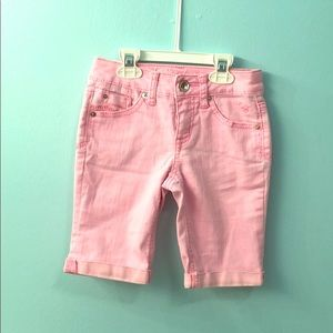 Justice girls' light pink cuffed shorts-size 10